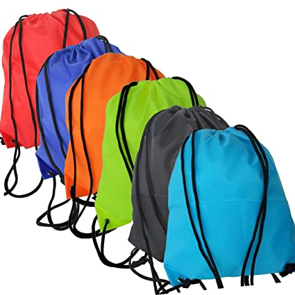 eecd6009fa41 Amazon.com: Xelparuc 6 Pack Drawstring Backpack Bags 420D Polyester ...
