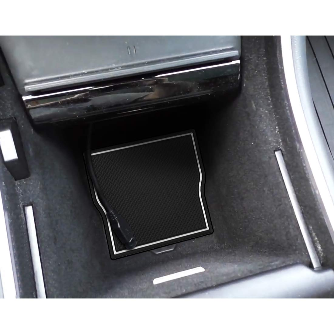 Solid Black BougeRV for Tesla Model 3 Accessories Custom Fit Cup and Center Console Liners