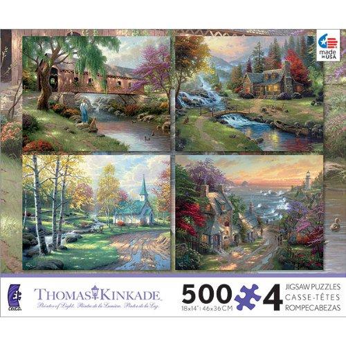Thomas Kinkade - Set of 4 Puzzles in 1 Box
