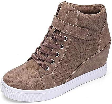 ELECTRI Chaussure Compensee Plateforme Mode pour Femmes Confortables et Respirants Lacets Sneakers, Casual Baskets, À l'intérieur Augmentation Talon
