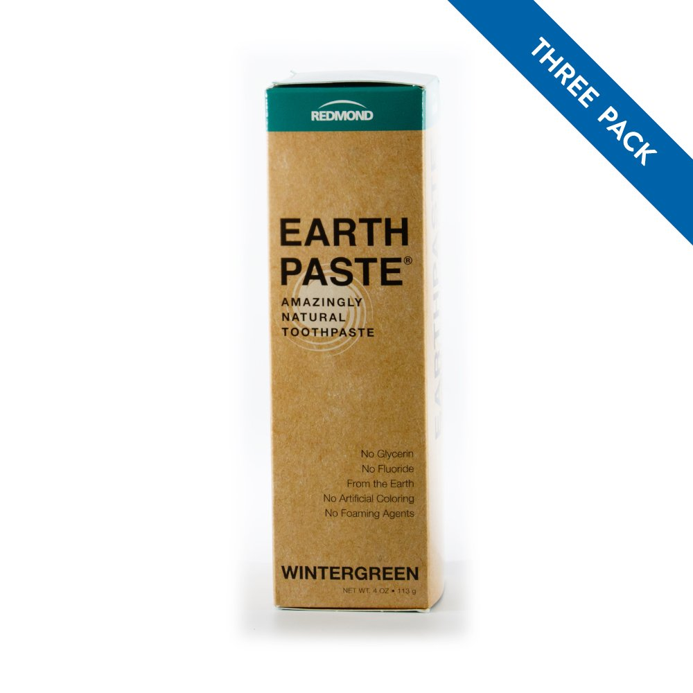 REDMOND - Earthpaste All Natural Non-Fluoride Vegan Organic Non GMO Real Ingredients Toothpaste, Wintergreen 4 Ounce Tube (3 Pack) (Packaging May Vary)