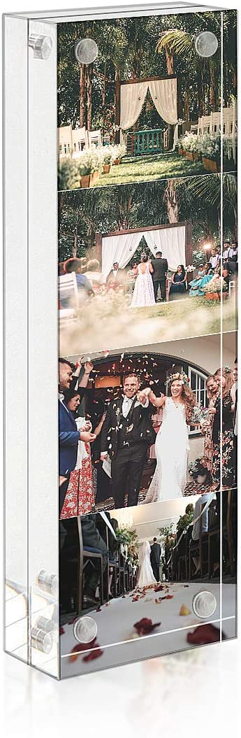 NIUBEE Photo Booth Acrylic 2 x 6 Picture Frame, Double Sided Frameless Desktop Display