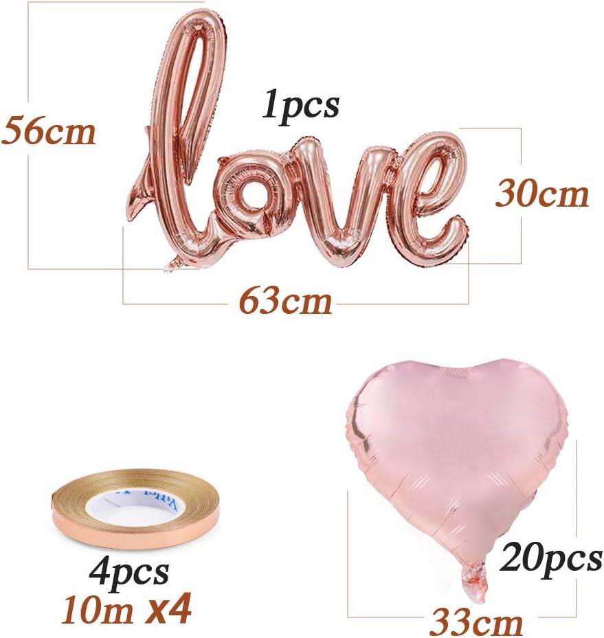 1 Set Palloncini Love in Alluminio con Nastro per Decorazione Matrimonio Nozze Valentine/'s Day Fidanzamento Anniversario Festa Atmosfera Romantica Oro Rosa FLOFIA 20pz Palloncini Cuore Elio