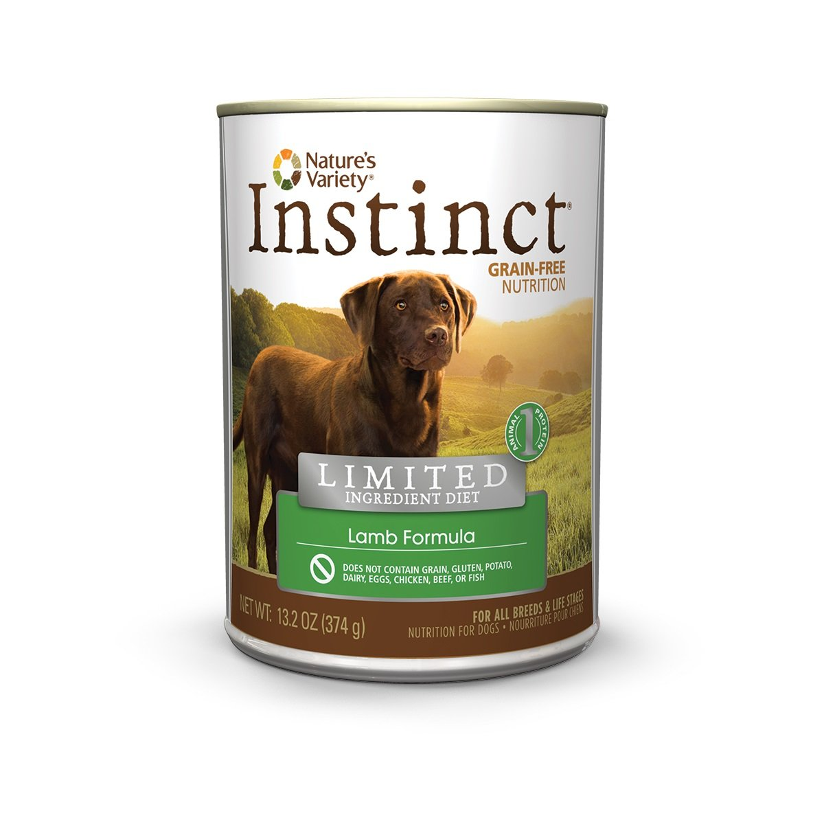 Nature's Variety Instinct Limited Ingredient Diet Grain Free Lamb Formula Natural Wet Canned Dog Food by, 13.2 oz. Cans (Case of 12)