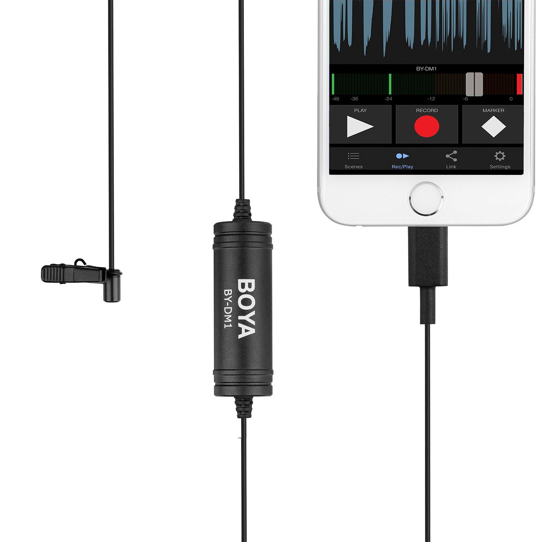 BOYA BY-DM1 Microphone à cravate Lavalier Microphone à clipser avec interface Lightning IOS Entrée pour iPhone X 8 7 Plus iPad Pro Mini iPOD TOUCH pour Youtube Vidéo Vblog Podcast Micro Film