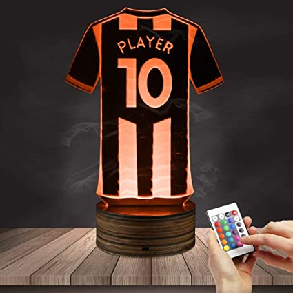 5399469e68b Amazon.com : Carl Artbay 3D Personalized Football Jersey LED Night Light, Customize  Your Name, Creative Table Lamp Decoration Lighting Sports Hobby Gift ...