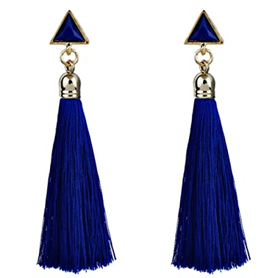 Gahrchian Women Long Earrings Plush Ball Long Gold Plated Earrings Jewelry Elegant Sweet Gift for Friends Sister Lover (3 Blue): Clothing