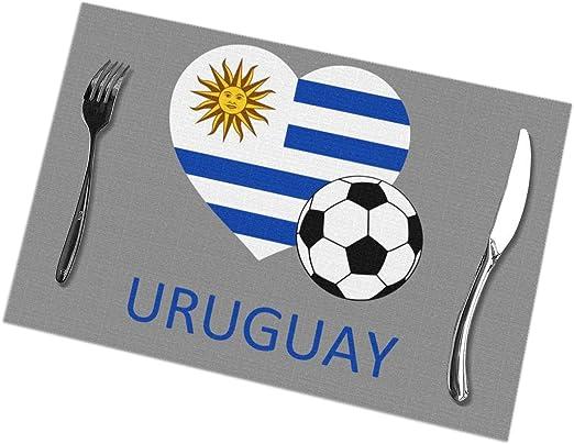 Love Uruguay - Manteles Individuales de fútbol para Mesa de Comedor Juego de 6 tapetes de Cocina: Amazon.es: Hogar