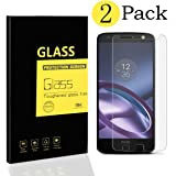 [2-Pack] Motorola Moto Z Screen Protectors , MENGGOOD Tempered Glass Protective Films Invisible Transparent Crystal Clear Protection Display Shield for Motorola Moto Z - 9H Hardness