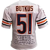 $112 » Dick Butkus Autographed Football Jersey - Chicago White Stat Custom - Hand Signed & JSA Authenticated