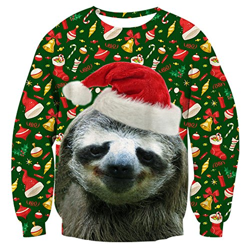 RAISEVERN Unisex Ugly Christmas Sloth Print Cute Xmas Pullover Sweater Sweatshirt For Teen Boys Girls,2017 Style No.5(christmas Sloth),Large ()
