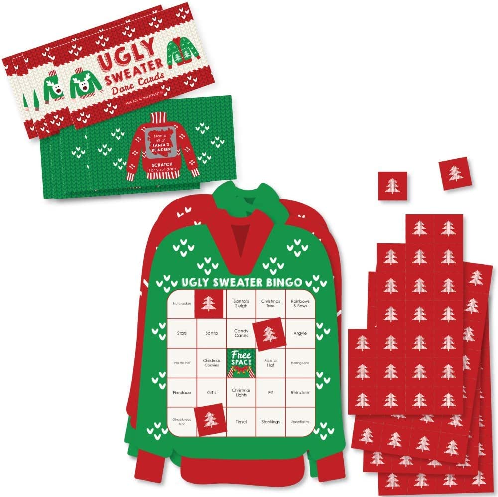 Amazon Com Big Dot Of Happiness Ugly Sweater Party Game Set Holiday And Christmas Party Game Supplies Kit Bingo Cards And Scratch Off Cards Party Virtual Bundle Kitchen Dining