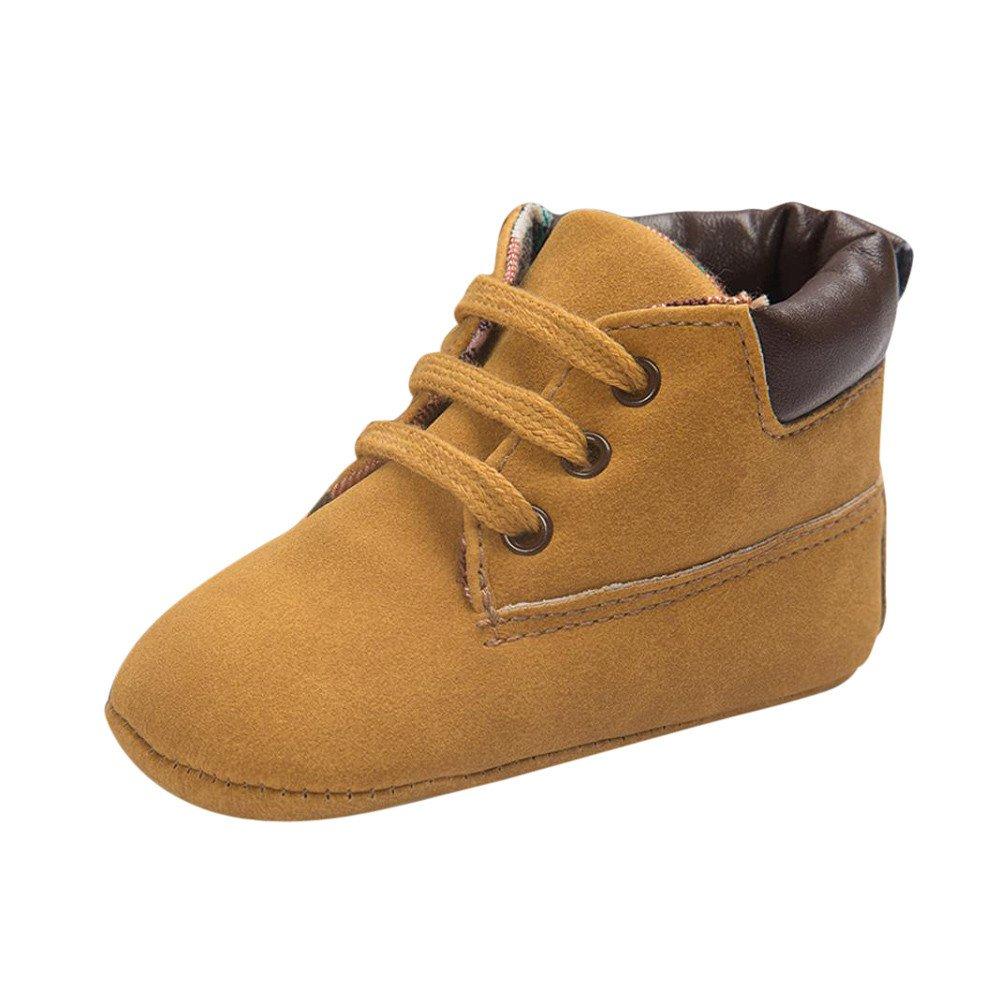 Chaussures Cuir Souple Souple Chaussons Bébé Chaussures Premiers Pas Lacet Botte Bottine, QinMM Chaussures de Poussette Conceptions Cuir Doux Nouveau-né à 4-5 Ans QinMM_Enfant
