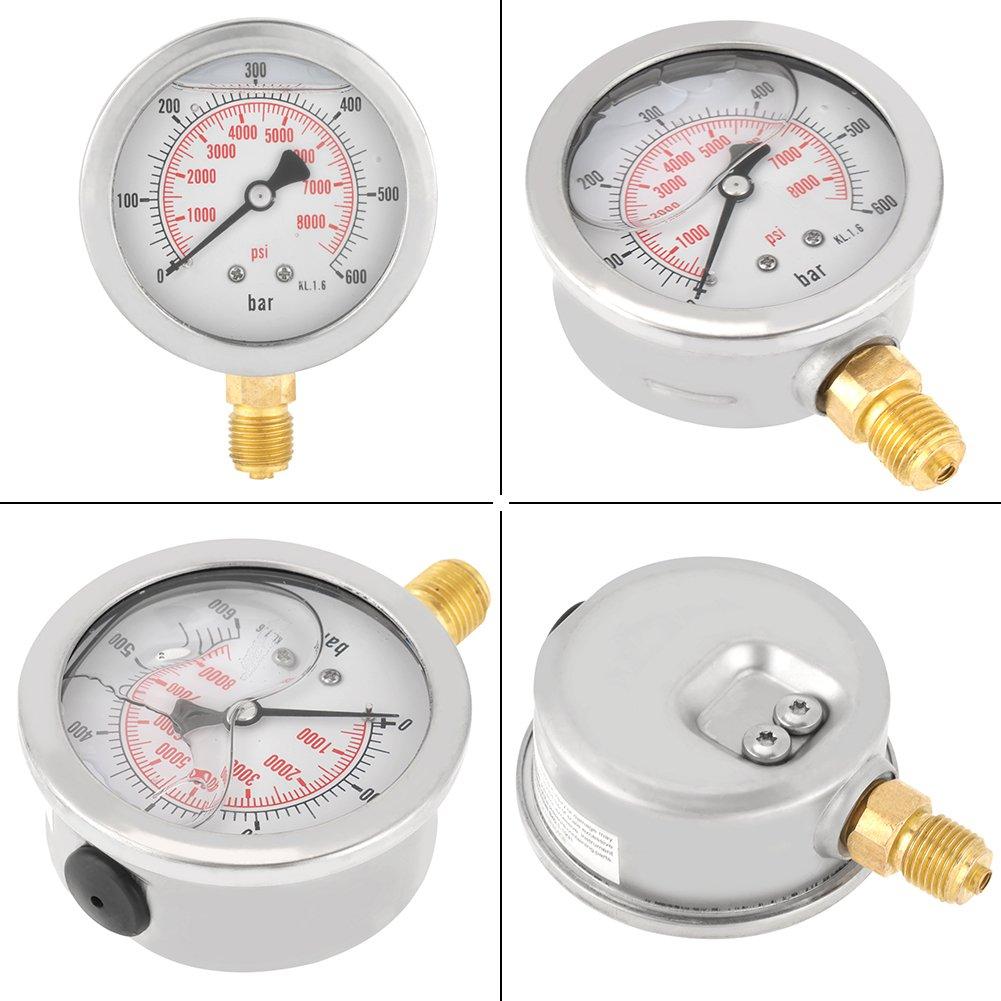 FTVOGUE 0~600 Bar 0-8500Psi G 1//463mm Jauge de pression hydraulique /à cadran Jauges de pression Compresseur dair sous vide Jauge de pression hydraulique