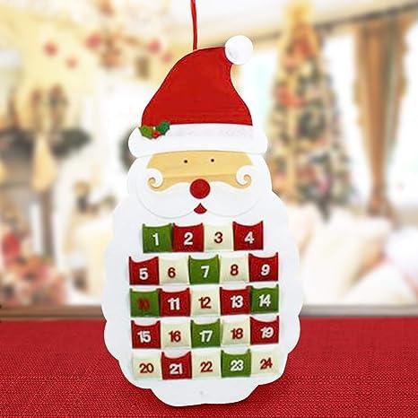 Addobbi Natalizi Feltro.Bakaji Christmas Calendario Avvento Babbo Natale E Pupazzo Di Neve
