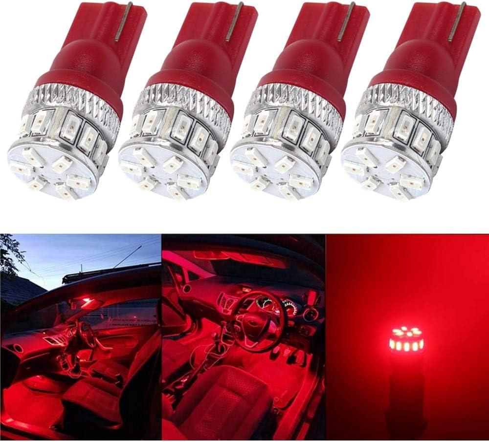 ALOPEE - 4-Pack T10 194 168 921 W5W 2825 5ªGeneración 240lums LED Rojo Luz 12V-24 V, Amazenar 18SMD 3014 Coche Iluminación interior por Luces de matrícula Tercera luz de freno Luz Del Mapa