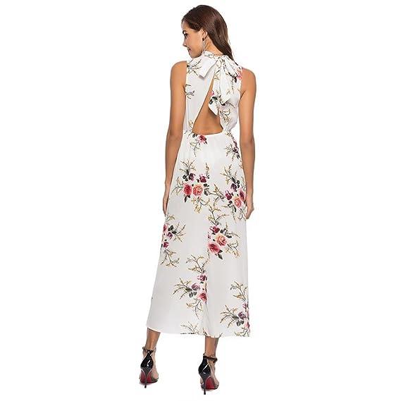 Longra Women Floral Printed Sleeveless Bandage Summer Long Dress Beach Sundress Petite Dresses Girls at Amazon Womens Clothing store: