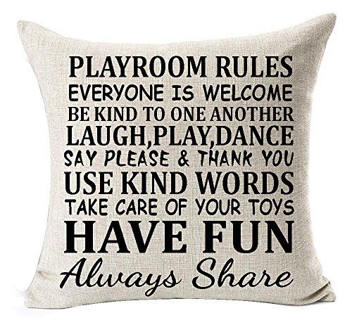 Sweet Funny Sayings Playroom Rules Everyone Is Welcome Laugh Play Dance Have Fun Always Share Cotton Linen Throw Pillowcase Personalized Cushion Cover NEW Home Office Decorative Square 18 X 18 Inches