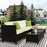 Kinbor 5 PCs Garden Furniture PE Rattan Wicker Sofa Sectional Furniture Cushioned Deck Couch Set