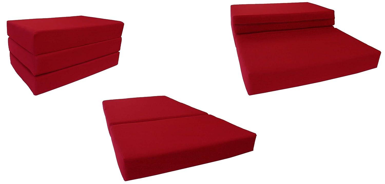 レッドソリッドツインサイズShikibuton三つ折りFoam Beds 6厚X 39 W x 75インチ長、1.8 KG高密度ResilientホワイトFoam、床Foam折りたたみマット。 B00GBFIFOQ