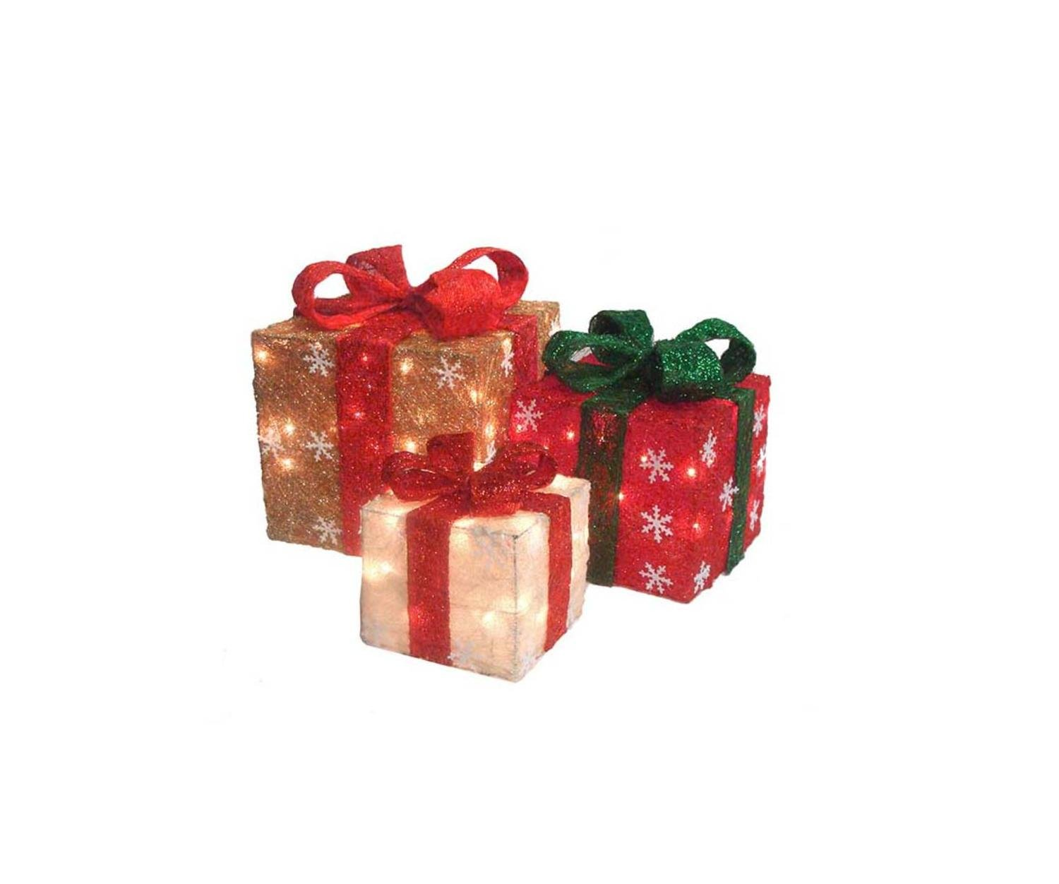 Northlight Set of 3 Lighted Gold, Green & Cream Sisal Gift Boxes Christmas Outdoor Decorations