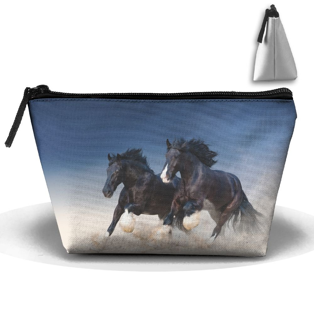 a6d509de16e low-cost Two Black And Beautiful Horses Fashion Travel Bag Trapezoid ...