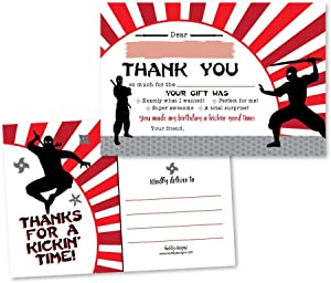 25 Ninja Warrior Turtle Fill In The Blank Kids Thank You Cards, Asian Japanese Chinese Anime Samurai Sword Gi Themed Bday Party Notes, Oriental Adult or Children Birthday, Panda Supplies Kokeshi Ideas