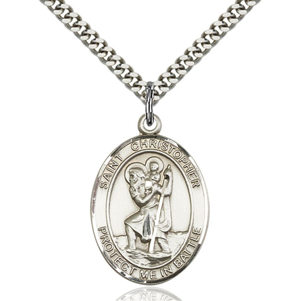 Sterling Silver St. Christopher Pendant 1 X 3/4 inches with Heavy Curb Chain Bliss Manufacturing 1177SS/24S