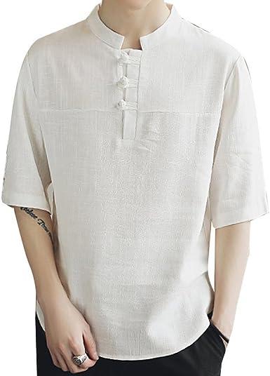 Hombres Ropa Camisetas Collar de Pie Manga Corta Retro Camisa Ocasional, Asiático M-5XL (4 Colores: Caqui, Blanco, Azul violáceo, Verde Claro): Amazon.es: Ropa y accesorios