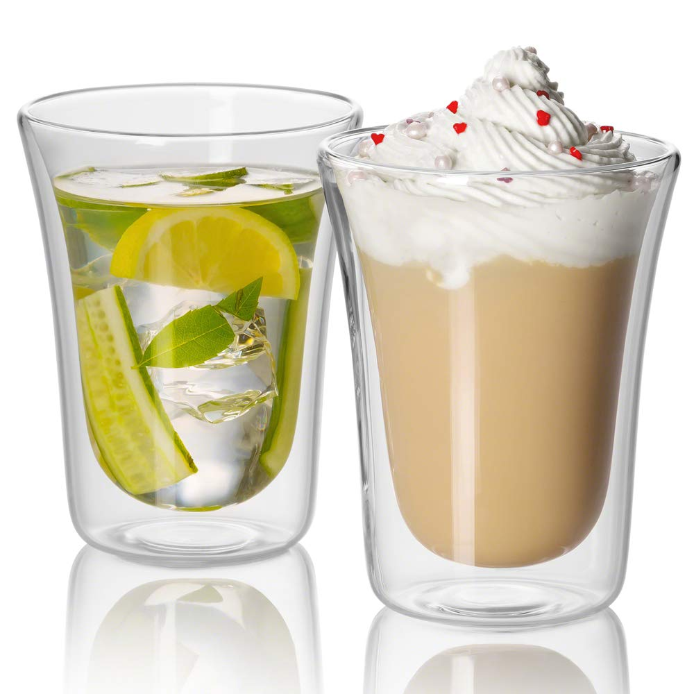 14 oz Clear Coffee Cup - Double Wall Insulated Glass SET OF 2. Keeps Hot Or Cold Drinks Longer - JECOBI Jecobi® Charm