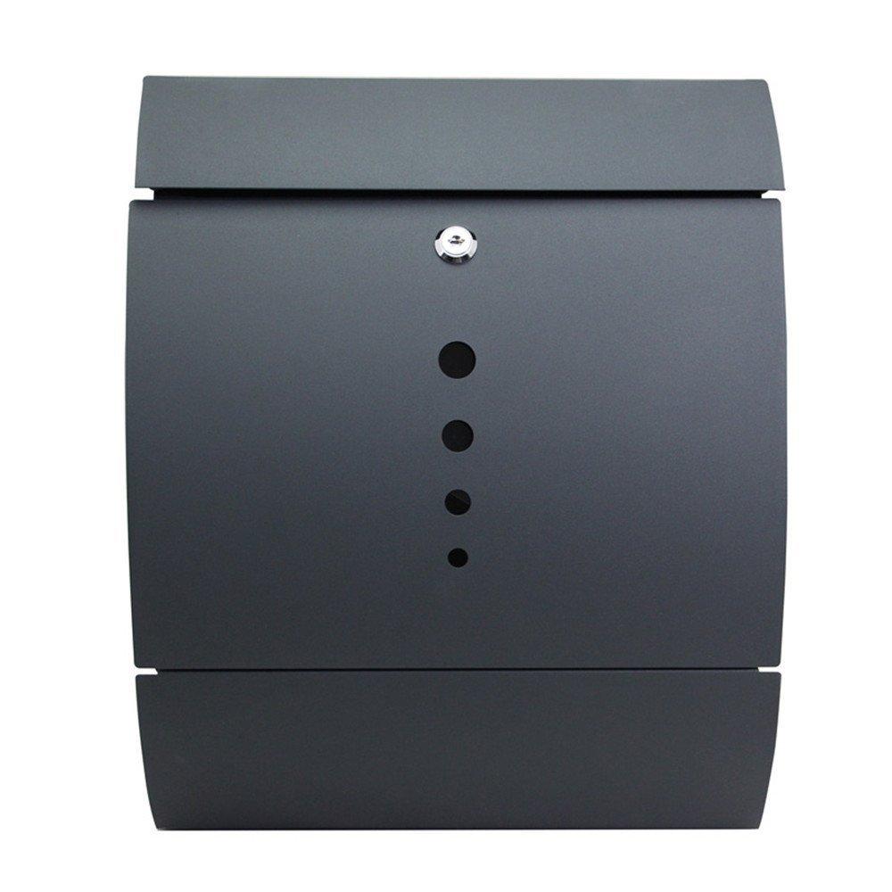 LZQ Estilo moderno Buzón de Acero Inoxidable Buzón de Exterior ara cartas y correo postal con el periódico rollo Bloqueable 2 Llaves, gris,141 x 353 x ...
