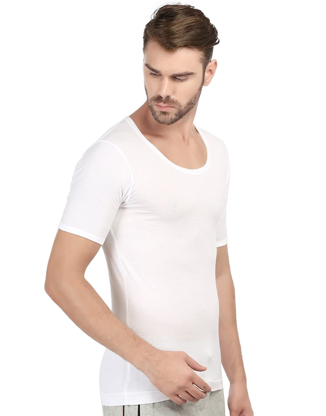 353678c0c41f82 Macroman M - Series Men's 2-Pack Cotton Round Neck with Sleeves Tank Top at  Amazon Men's Clothing store: