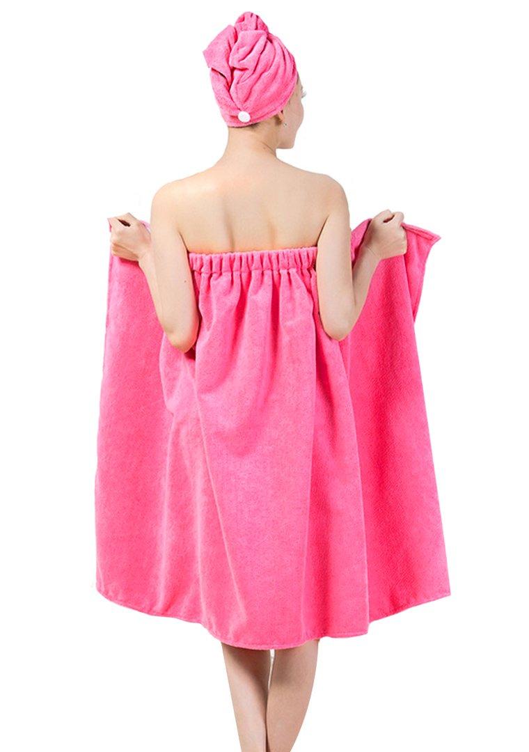 Queena Women Microfiber Bath Towel Wrap & Hair Turban Adjustable Spa Shower Cover Up,Pink by Queena