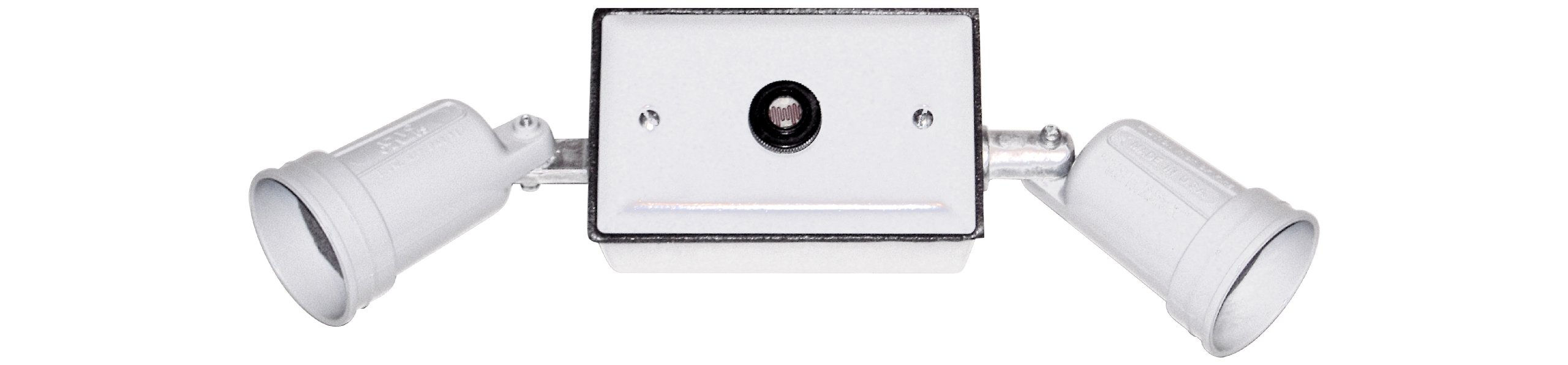 Made in USA Dusk to Dawn Weatherproof Electrical Outlet Box, Lampholder & Box Cover Kit - White
