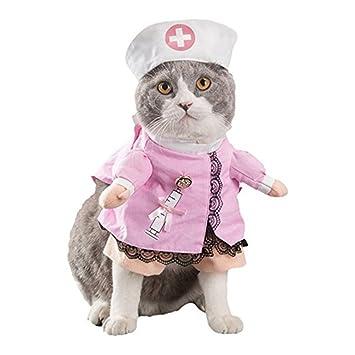 Morbuy Disfraz de Enfermera Ropa Traje Rosa para Mascotas Animal Doméstico Gato Perro con Dos Patas y Gorro para Halloween Navidad (M, color2)