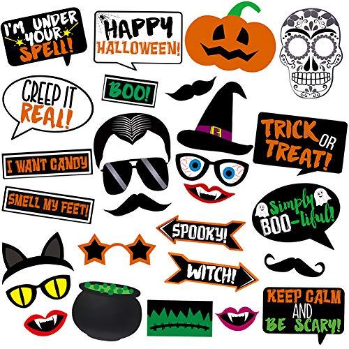 Halloween Photo Booth Props Kit Halloween Pumpkin Wizard Party Favor Decorations Supplies-28 Piece