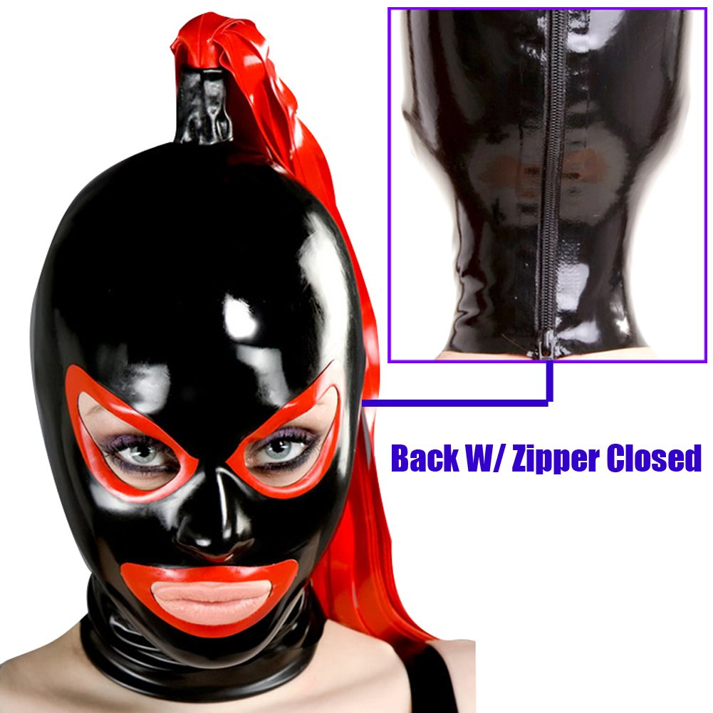 Yilen Latex Hood Mask with Red Eyes and Mouth with Ponytail Black) 2D-SR-tail-B