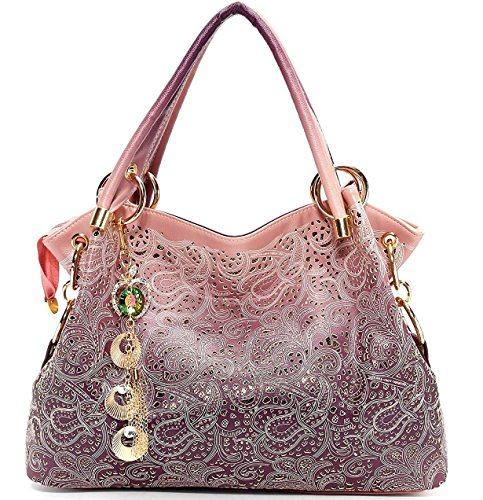 Vincico Womens Pink Fashion Designer Pu Leather Bag Top Handle Tote Purse Shoulder Bags Ladies Handbags