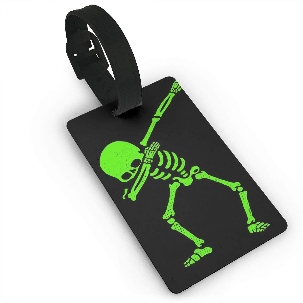 Dabbing Skeleton Green Luggage Tags Suitcase Labels Bag Travel Accessories Set of 2