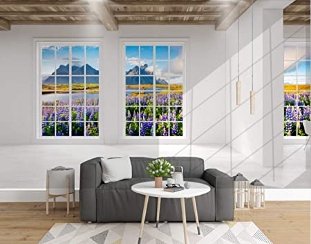 Wall Murals 3D Wallpaper Three Dimensional Balcony Windows Lavender