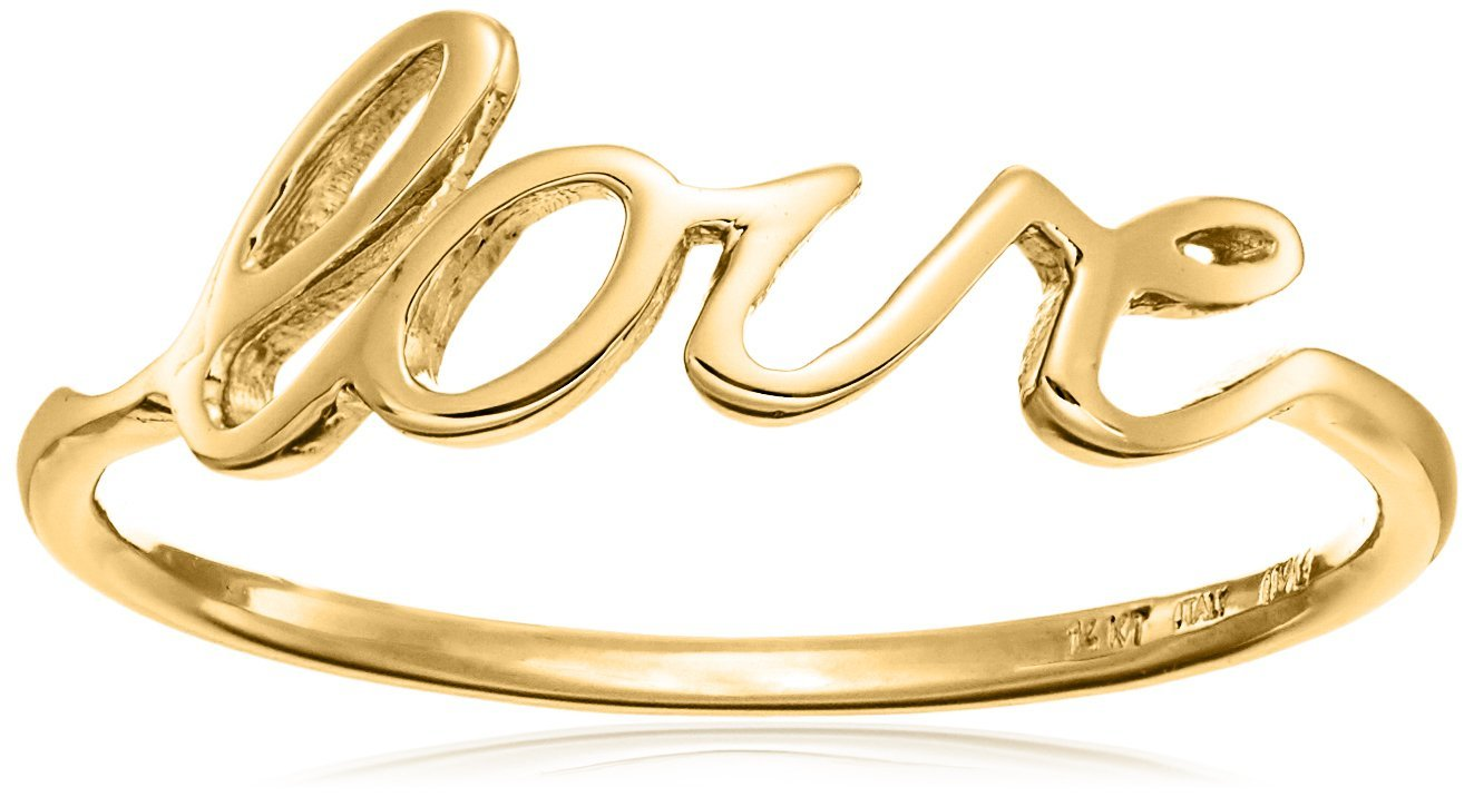 14k Italian Yellow Gold ''Love'' Ring, Size 7