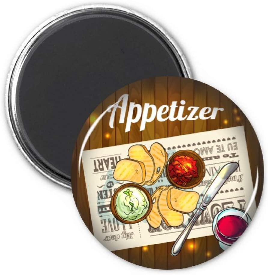 Appetizer Slice of Bread Wine Refrigerator Magnet Sticker Decoration Badge Gift