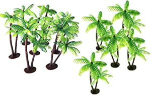 VOSAREA Coconut Palm Tree, 12pcs Palm Trees with Coconuts Cake/Cupcake Toppers - Coconut Tree Building Model Props
