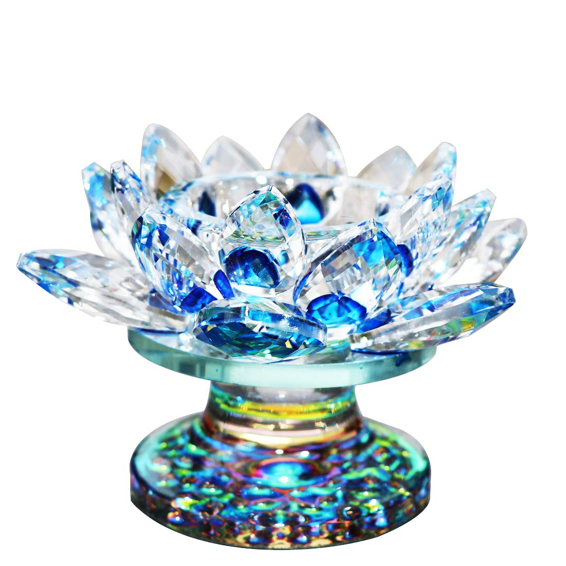 """Waltz&F Blue Crystal Lotus Flower Tealight Candle Holder Centerpieces Dia Approx 4.5"""""""