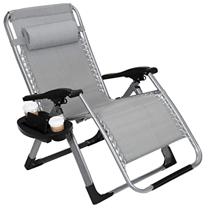 Beau 22.8u201d Oversized Width Seat 350LBS Capacity Zero Gravity Outdoor Lounge Chair  W/Cup Holder