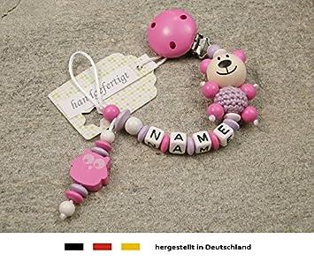 kleinerStorch Baby SCHNULLERKETTE mit Namen Schnullerhalter mit Wunschnamen M/ädchen Motiv Herz in Flieder