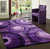 Cheap Shaggy Viscose , Lavender Solid Area Rug, Hand Tufted, Exact Size 5'X7′ On Sale!