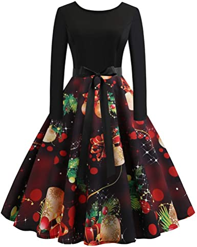 Christmas Print Dresses 2020 TOTOD Christmas Vintage Dress 2020, Women Elegant Long Sleeve