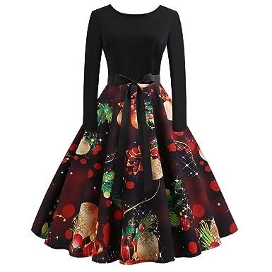 a50dd72f8933 Franterd Dress Women Christmas Dress Autumn Winter Xmas Ball Gift Printing  Vintage Gown Evening Party Dresses