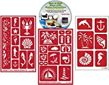 Nautical Stencil (3) Pack of Beach , Palm Tree, Sea, Shells, Mermaids, Anchor, etc: Over N Over Reusable + How to Etch CD